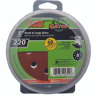 Ali 4340 Gator 5 Inch 8 Hole Hook And Loop Aluminum Oxide Sanding Discs 220 Grit Very Fine 50 Pack