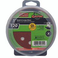 Ali 4342 Gator 5 Inch 8 Hole Hook And Loop Aluminum Oxide Sanding Discs 120 Grit Medium Fine 50 Pack