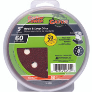 Ali 4345 Gator 5 Inch 8 Hole Hook And Loop Aluminum Oxide Sanding Discs 60 Grit Coarse 50 Pack