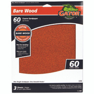 Ali 4462 Gator 9 By 11 Inch Bare Wood Sandpaper 60 Grit Garnet 3 Sheets