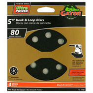Ali 7722 Gator 5 Inch 8 Hole Hook And Loop Zirconium Oxide Sanding Discs 80 Grit Coarse 4 Pack