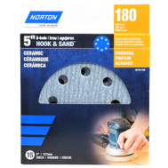 Ali 50155-038 Norton 5 Inch 8 Hole Hook And Loop Ceramic Sanding Discs 180 Grit Fine 15 Pack