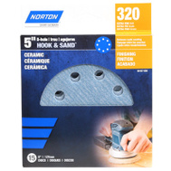 Ali 50157-038 Norton 5 Inch 8 Hole Hook And Loop Ceramic Sanding Discs 320 Grit Extra Fine 15 Pack