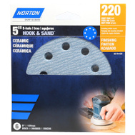 Ali 50166-038 Norton 5 Inch 8 Hole Hook And Loop Ceramic Sanding Discs 220 Grit Very Fine 3 Pack