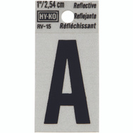 Hy Ko RV-15/A RV Series 1-1/4 Inch Black On 1-1/2 Inch Silver Reflective Vinyl Letter A