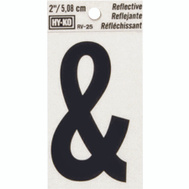 Hy Ko RV-25/& RV Series 2 Inch Bend And Peel Black On Silver Reflective Vinyl Symbol Ampersand