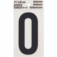 Hy Ko RV-25/0 RV Series 2 Inch Bend And Peel Black On Silver Reflective Vinyl Number 0