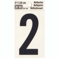 Hy Ko RV-25/2 RV Series 2 Inch Bend And Peel Black On Silver Reflective Vinyl Number 2