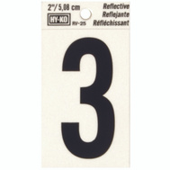 Hy Ko RV-25/3 RV Series 2 Inch Bend And Peel Black On Silver Reflective Vinyl Number 3