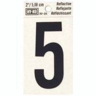 Hy Ko RV-25/5 RV Series 2 Inch Bend And Peel Black On Silver Reflective Vinyl Number 5