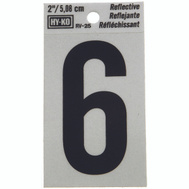 Hy Ko RV-25/6 RV Series 2 Inch Bend And Peel Black On Silver Reflective Vinyl Number 6
