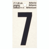 Hy Ko RV-25/7 RV Series 2 Inch Bend And Peel Black On Silver Reflective Vinyl Number 7