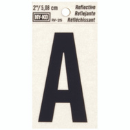 Hy Ko RV-25/A RV Series 2 Inch Bend And Peel Black On Silver Reflective Vinyl Letter A