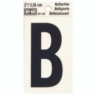 Hy Ko RV-25/B RV Series 2 Inch Bend And Peel Black On Silver Reflective Vinyl Letter B