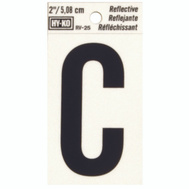 Hy Ko RV-25/C RV Series 2 Inch Bend And Peel Black On Silver Reflective Vinyl Letter C