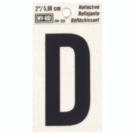 Hy Ko RV-25/D RV Series 2 Inch Bend And Peel Black On Silver Reflective Vinyl Letter D