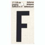 Hy Ko RV-25/F RV Series 2 Inch Bend And Peel Black On Silver Reflective Vinyl Letter F