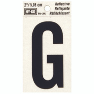 Hy Ko RV-25/G RV Series 2 Inch Bend And Peel Black On Silver Reflective Vinyl Letter G