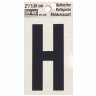 Hy Ko RV-25/H RV Series 2 Inch Bend And Peel Black On Silver Reflective Vinyl Letter H