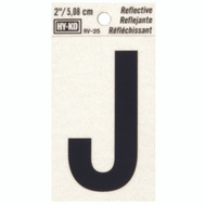 Hy Ko RV-25/J RV Series 2 Inch Bend And Peel Black On Silver Reflective Vinyl Letter J