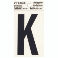Hy Ko RV-25/K RV Series 2 Inch Bend And Peel Black On Silver Reflective Vinyl Letter K