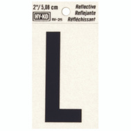 Hy Ko RV-25/L RV Series 2 Inch Bend And Peel Black On Silver Reflective Vinyl Letter L