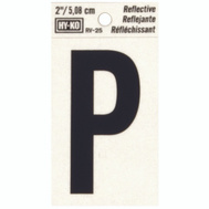 Hy Ko RV-25/P RV Series 2 Inch Bend And Peel Black On Silver Reflective Vinyl Letter P