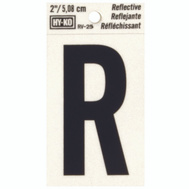 Hy Ko RV-25/R RV Series 2 Inch Bend And Peel Black On Silver Reflective Vinyl Letter R