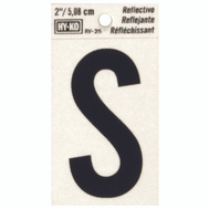 Hy Ko RV-25/S RV Series 2 Inch Bend And Peel Black On Silver Reflective Vinyl Letter S