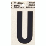 Hy Ko RV-25/U RV Series 2 Inch Bend And Peel Black On Silver Reflective Vinyl Letter U