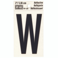 Hy Ko RV-25/W RV Series 2 Inch Bend And Peel Black On Silver Reflective Vinyl Letter W