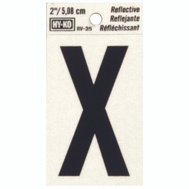 Hy Ko RV-25/X RV Series 2 Inch Bend And Peel Black On Silver Reflective Vinyl Letter X