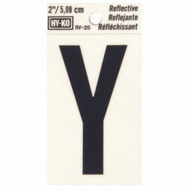 Hy Ko RV-25/Y RV Series 2 Inch Bend And Peel Black On Silver Reflective Vinyl Letter Y