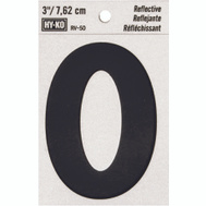 Hy Ko RV-50/0 RV Series 3 Inch Bend And Peel Black On Silver Reflective Vinyl Number 0