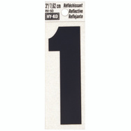 Hy Ko RV-50/1 RV Series 3 Inch Bend And Peel Black On Silver Reflective Vinyl Number 1