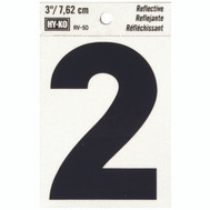 Hy Ko RV-50/2 RV Series 3 Inch Bend And Peel Black On Silver Reflective Vinyl Number 2