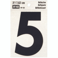 Hy Ko RV-50/5 RV Series 3 Inch Bend And Peel Black On Silver Reflective Vinyl Number 5