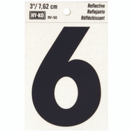 Hy Ko RV-50/6 RV Series 3 Inch Bend And Peel Black On Silver Reflective Vinyl Number 6