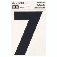 Hy Ko RV-50/7 RV Series 3 Inch Bend And Peel Black On Silver Reflective Vinyl Number 7