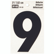 Hy Ko RV-50/9 RV Series 3 Inch Bend And Peel Black On Silver Reflective Vinyl Number 9