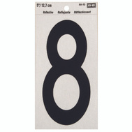 Hy Ko RV-70/8 RV Series 5 Inch Bend And Peel Black On Silver Reflective Vinyl Number 8
