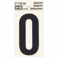 Hy Ko RV-25/O RV Series 2 Inch Bend And Peel Black On Silver Reflective Vinyl Letter O
