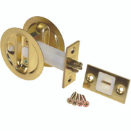 LE Johnson 15213PK1 Privacy Round Pocket Door Latch Bright Brass