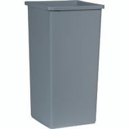 Rubbermaid Commercial FG356988GRAY Untouchable Gray 23 Gal Square Wastebasket