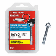 ITW Red Head 12377 Redhead Wedge Anchor 1/4X2-1/4 25 Pack