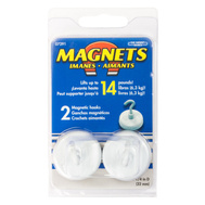 Master Magnetics 07291 1-1/4 Inch White Magnetic All Purpose Hook Pack Of 2