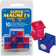 Master Magnetics 07511 Blue And Fuschia Powerful Magnetic Squares Pack Of 10