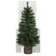 Santas Forest 27348 Clear Pre-Lit Tree W/Log Base 4Ft