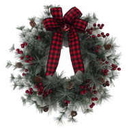 Santas Forest 38313 Wreath Decortd Tamarack 24In