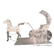 Santas Forest 58015 Horse/Carriage Mesh 3D Pre-Lit